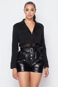 Deep-v Cropped Power Shoulder Blazer Bodysuit - Kendalls Deals
