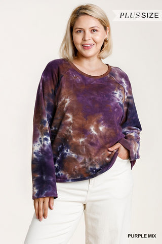 French Terry Tie-dye Raglan Long Sleeve Top With Raw Hem - Kendalls Deals