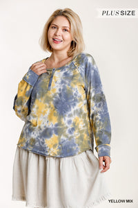 Tie-dye Button Front Long Raglan Sleeve Top With Raw Hem - Kendalls Deals
