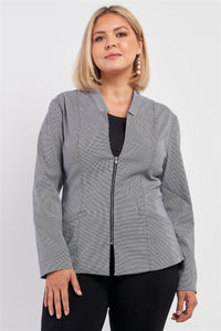 Plus Checkered Houndstooth Pattern Front Zipper Closure Jacket - Kendalls Deals