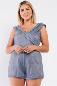 Plus Glimmering Ice Blue Sleeveless Bateau Neck Pleated Wrap Detail Fitted Romper - Kendalls Deals