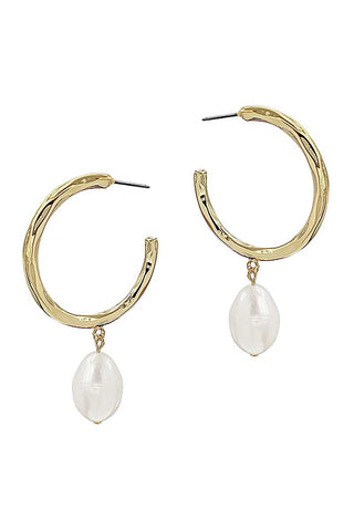 Fashion Open Hoop And Fresh Water Pearl Drop Earring - Kendalls Deals