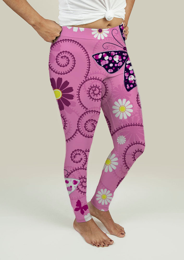 Leggings with Pink Floral Pattern - Kendalls Deals