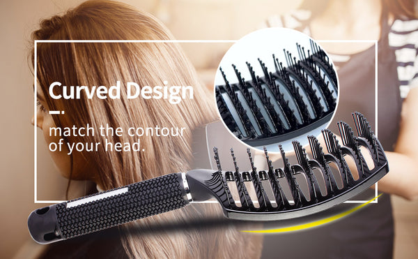 Curved Styling Hair Brush, Detangling Thick Hair Massage Blow Brush