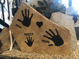 Hand Prints in Stone, Rock Gifts, Personalized Stone