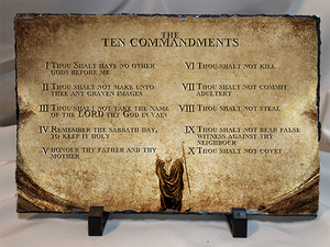"10 Commandments On Stone/Slate 11.75"" x 7.75"""