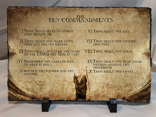 10 Commandments On Stone/Slate 11.75