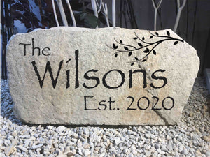LARGE CARVED Stone. #5 The Elm - Free Design, Text, Graphics & Color - Free Shipping