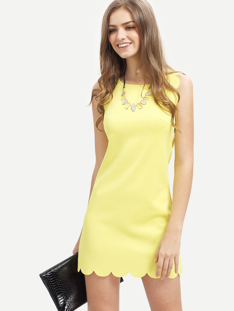Crew Neck Scalloped Hem Dress