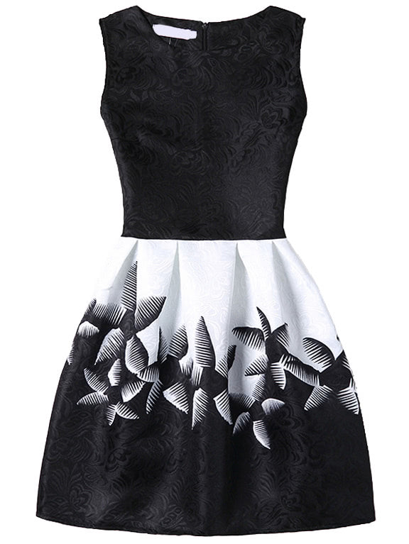 Abstract Flower Print Fit & Flare Dress With Zipper Back - Black