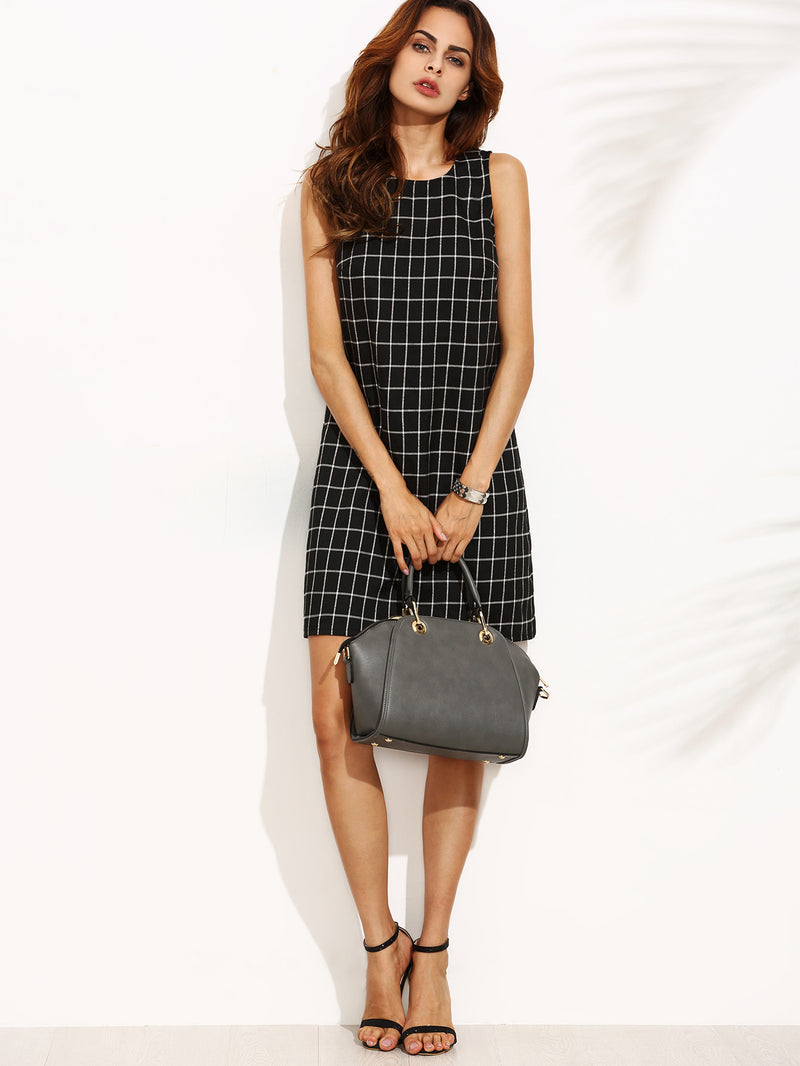 Checkered Cut Out Twiggy Dress
