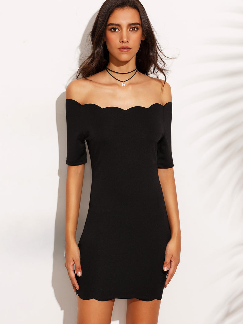 Bardot Neckline Scallop Hem Dress