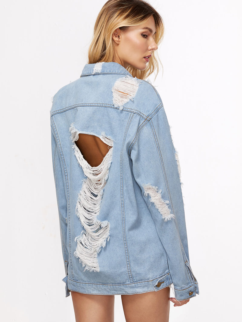 Acid Wash Distressed Boyfriend Denim Jacket