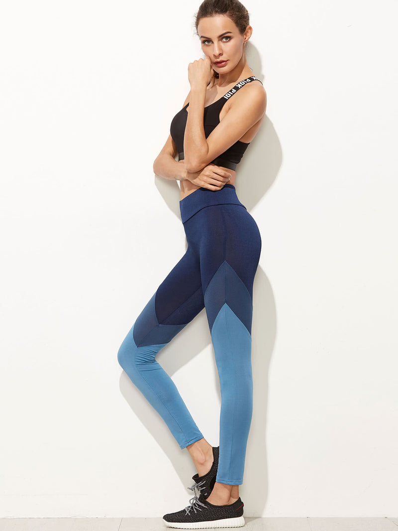 Color Block Cut And Sew Leggings