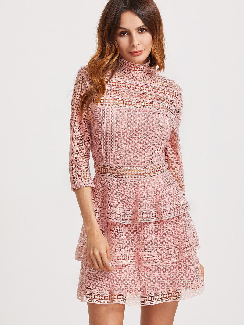 3/4 Sleeve Layered Dotted Crochet Dress