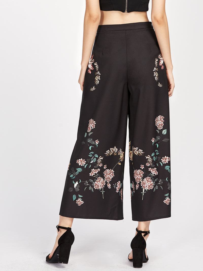 Botanical Print Zip Side Wide Leg Pants