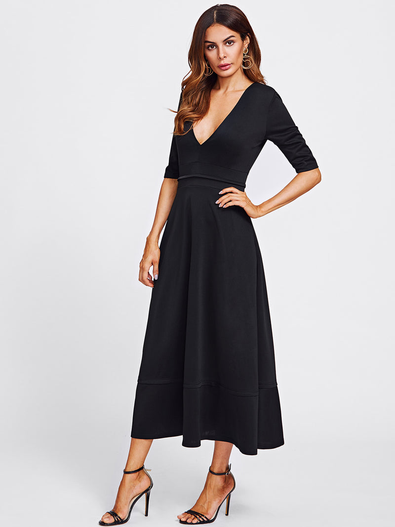 Deep V Neckline Long Dress