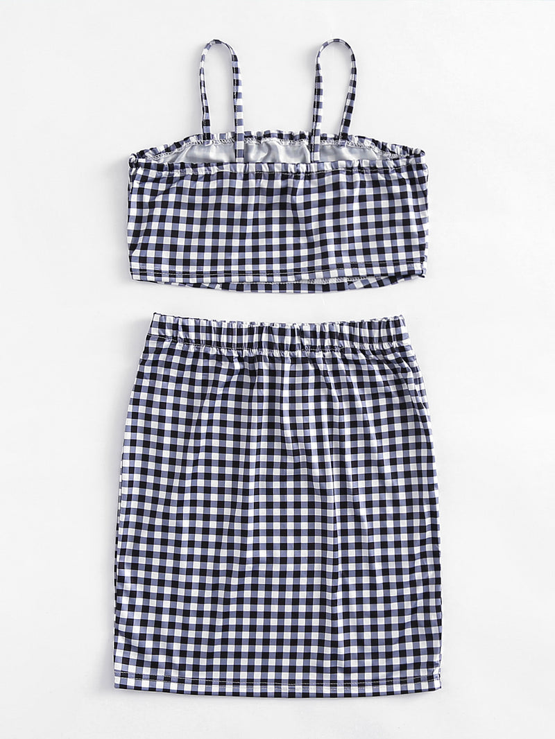 Checked Crop Cami Top With Skirt