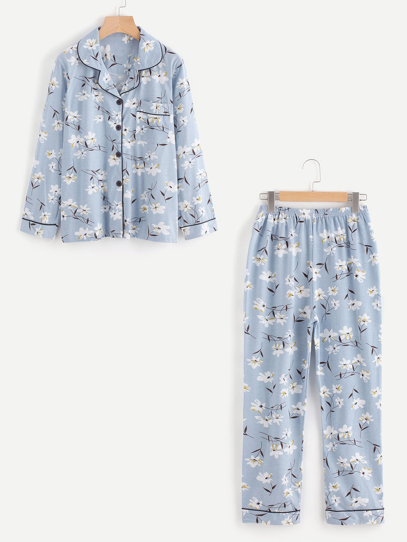 Contrast Binding Calico Print Long Pajama Set