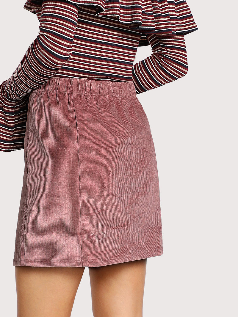 Button Down Cord Skirt