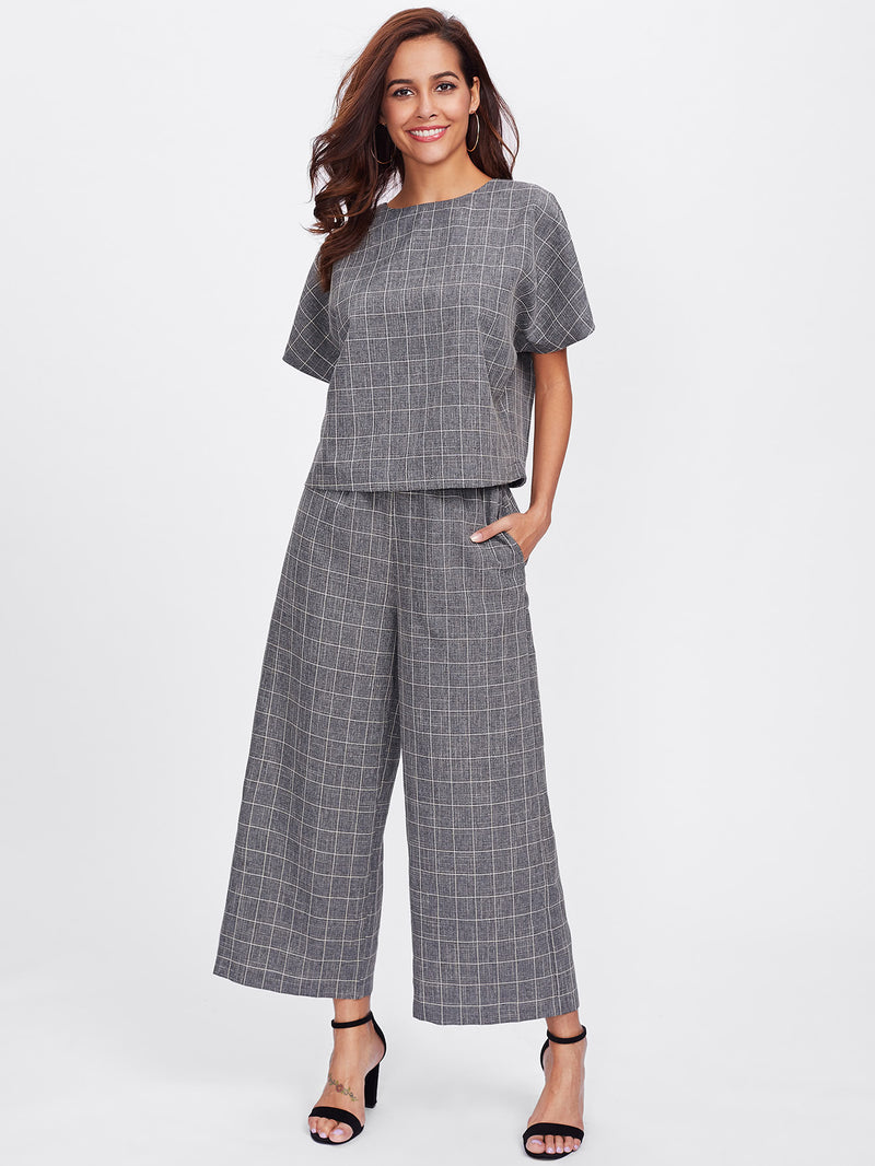 Buttoned Keyhole Grid Top & Palazzo Pants Co-Ord