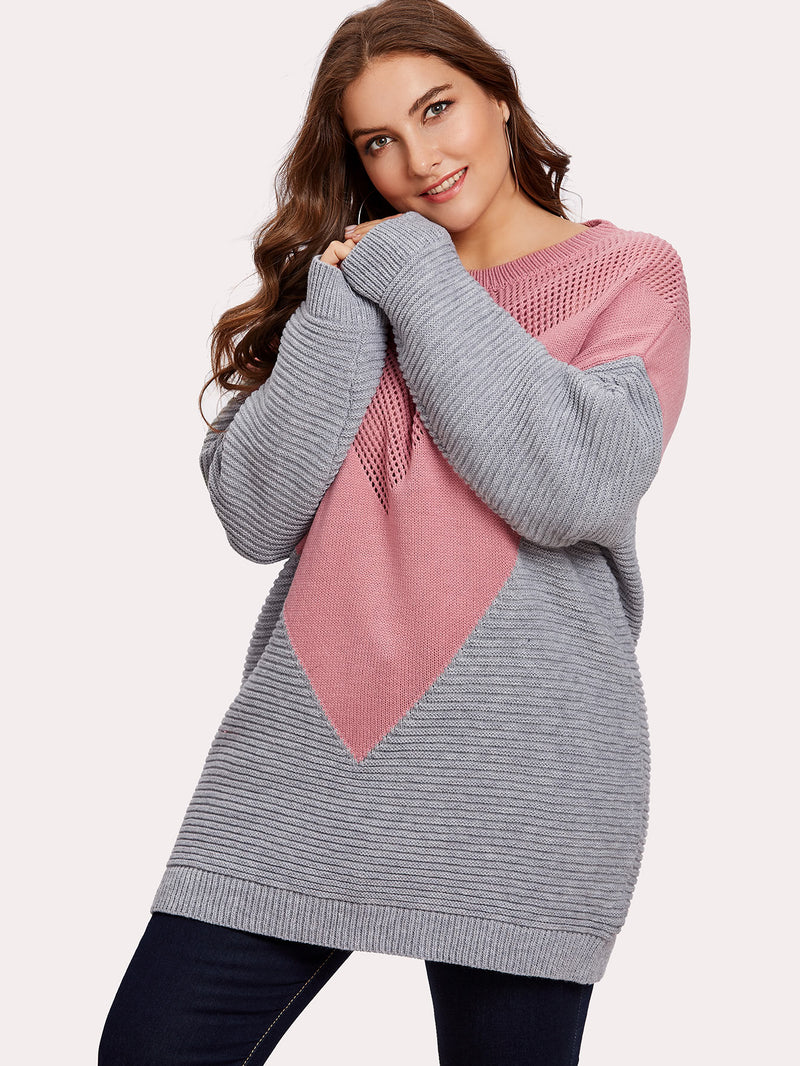 Drop Shoulder Two Tone Eyelet Sweater