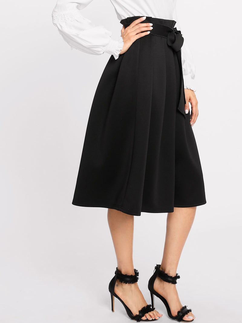 Box Pleated Self Belted Skirt