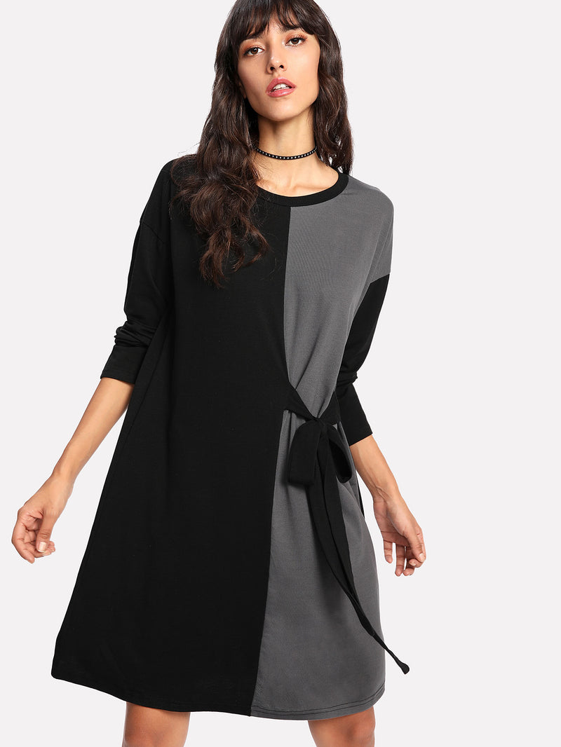 Color Block Tie Side Dress