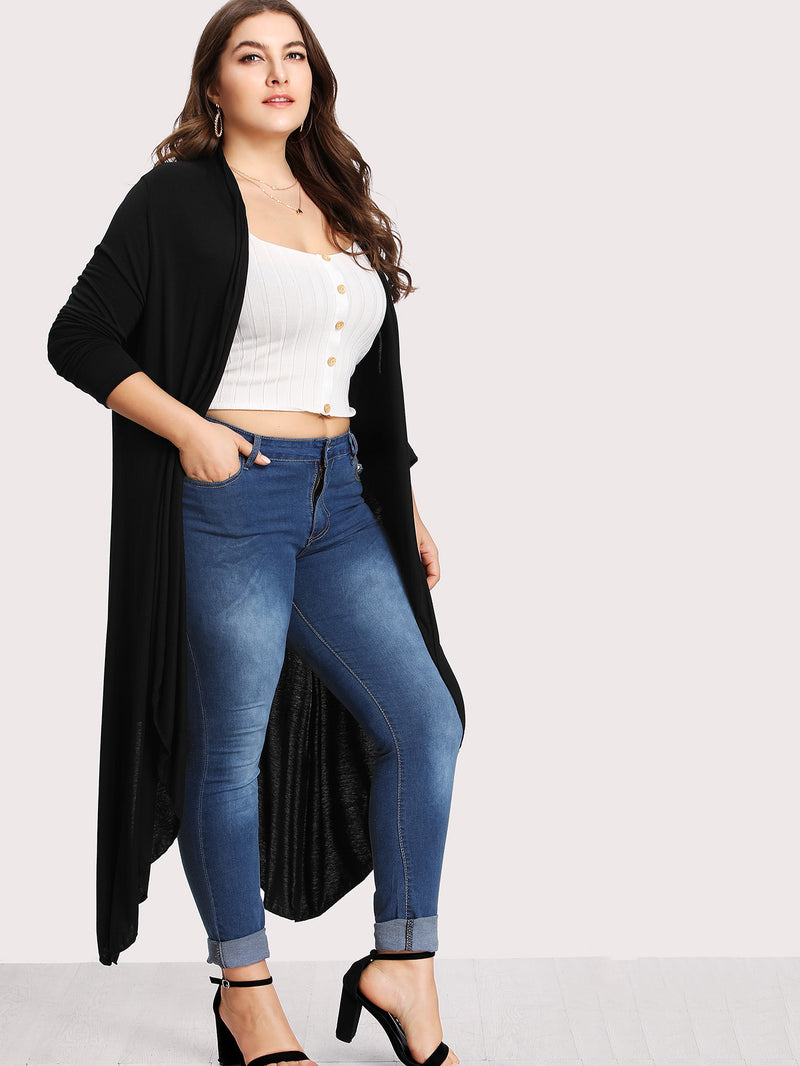 Plus Asymmetrical Hem Cardigan