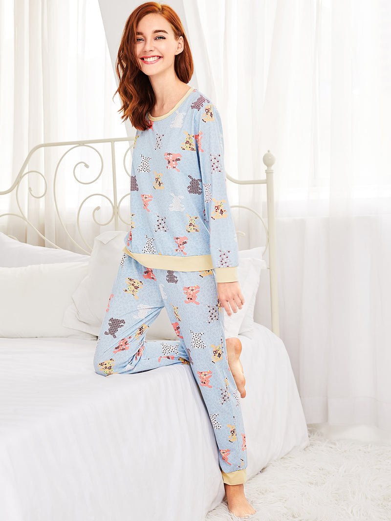 Animal Pattern Long Pajama Set