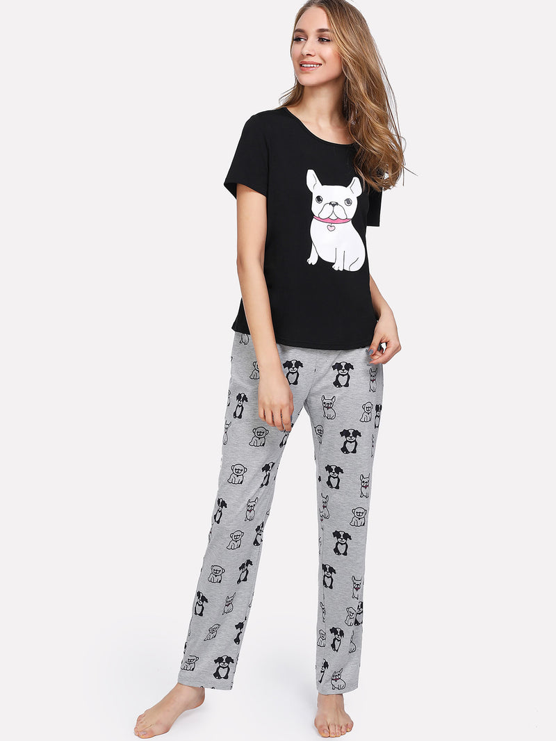 Dog Print Tee And Pants PJ Set