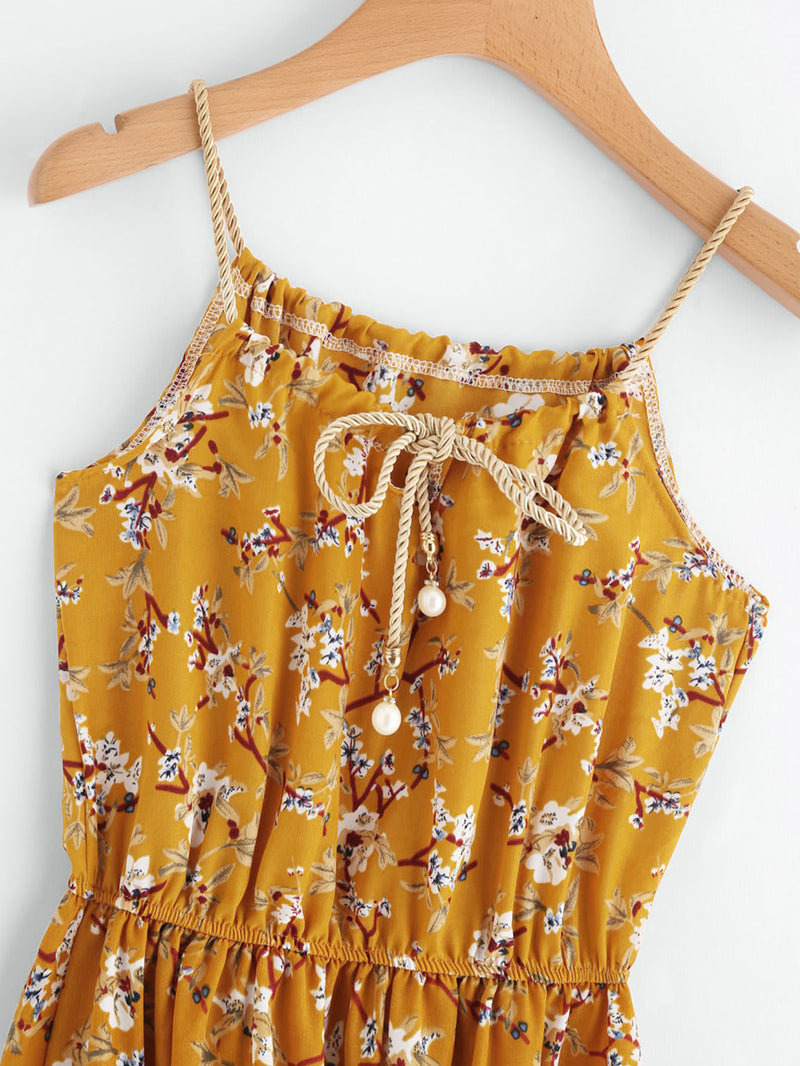 Calico Print Faux Pearl Detail Cami Dress