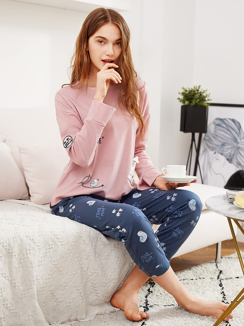 Bird Print Split Side Tee & Pants PJ Set