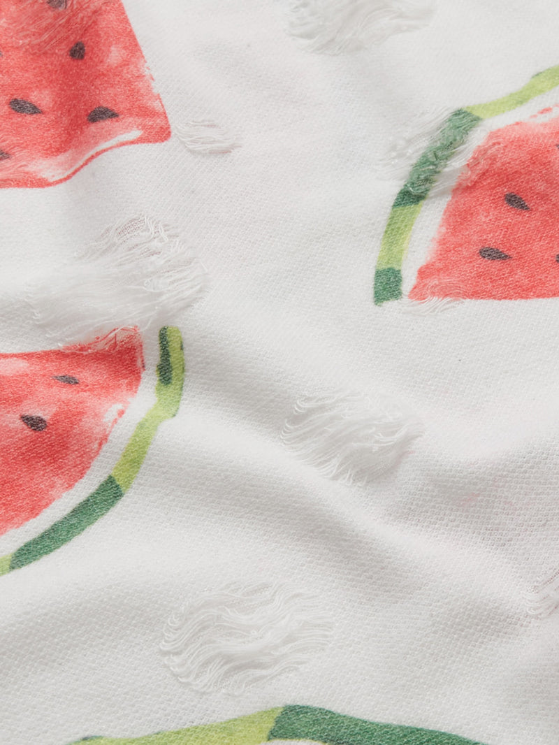 Allover Watermelon Print Crisscross Back Nightdress