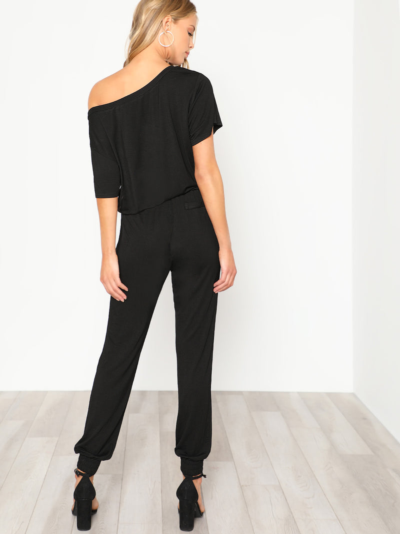 Asymmetric Shoulder Elastic Waist Jumpsuit
