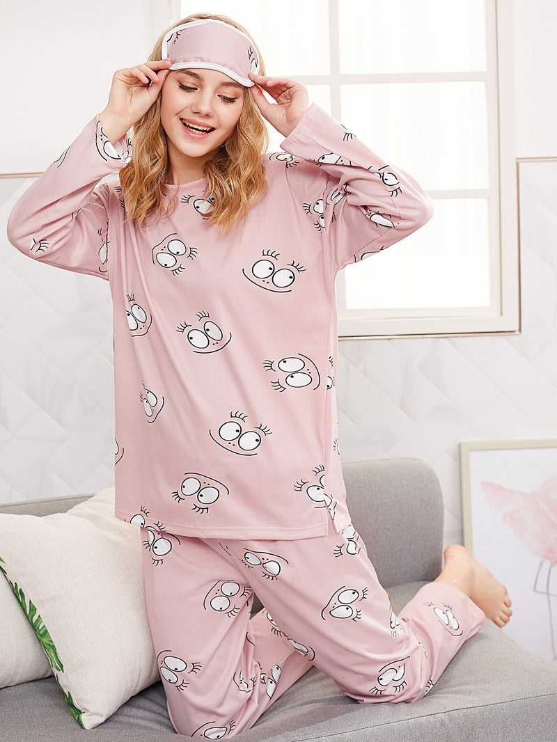 Cartoon Eye Print PJ Set With Eye Mask