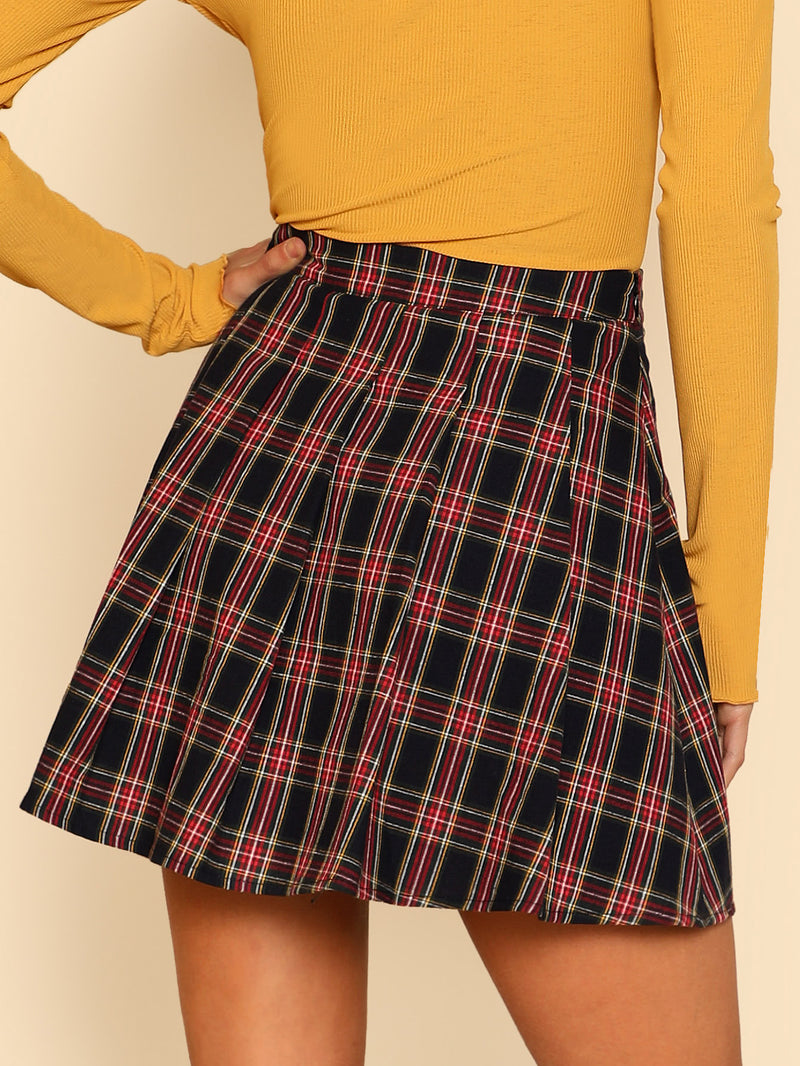 Box Pleated Checked Skirt