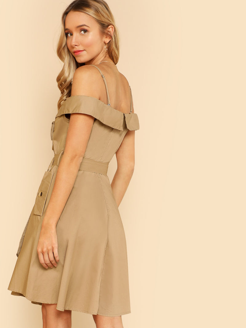 Button Detail Cold Shoulder Wrap Belted Dress