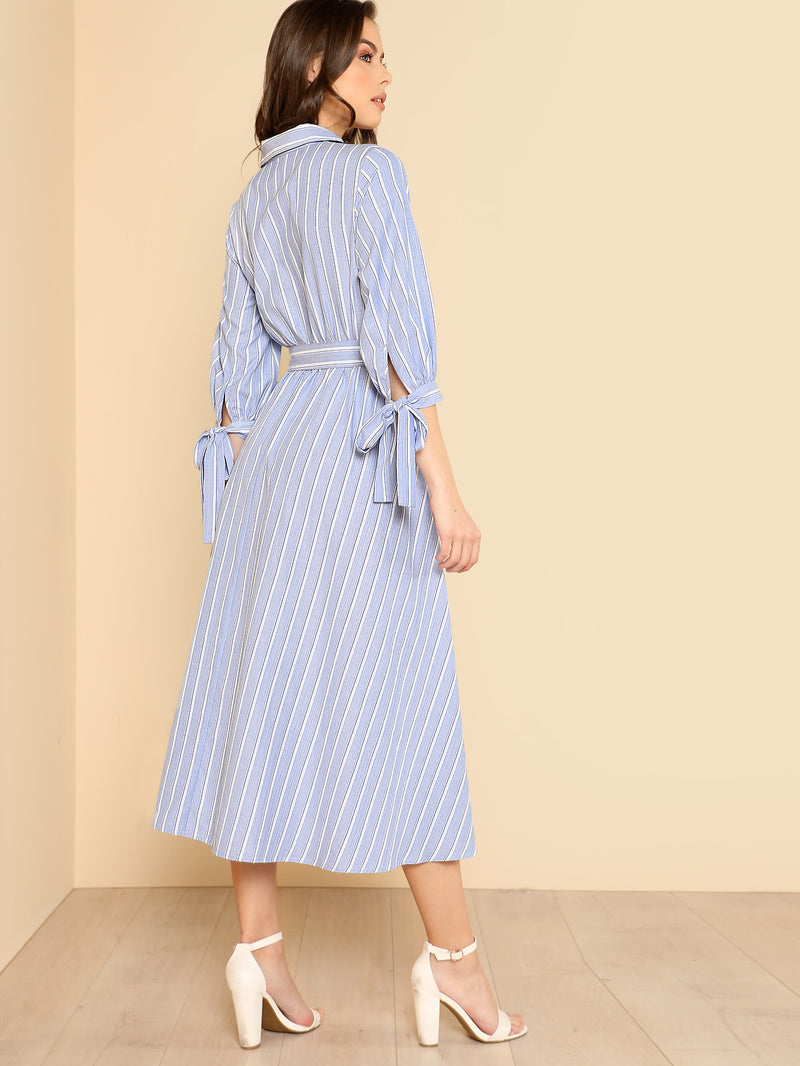 Bow Tied Cuff Striped Shirt Dress