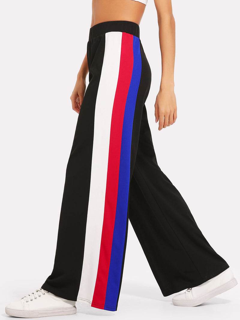 Color Block Side Palazzo Pants
