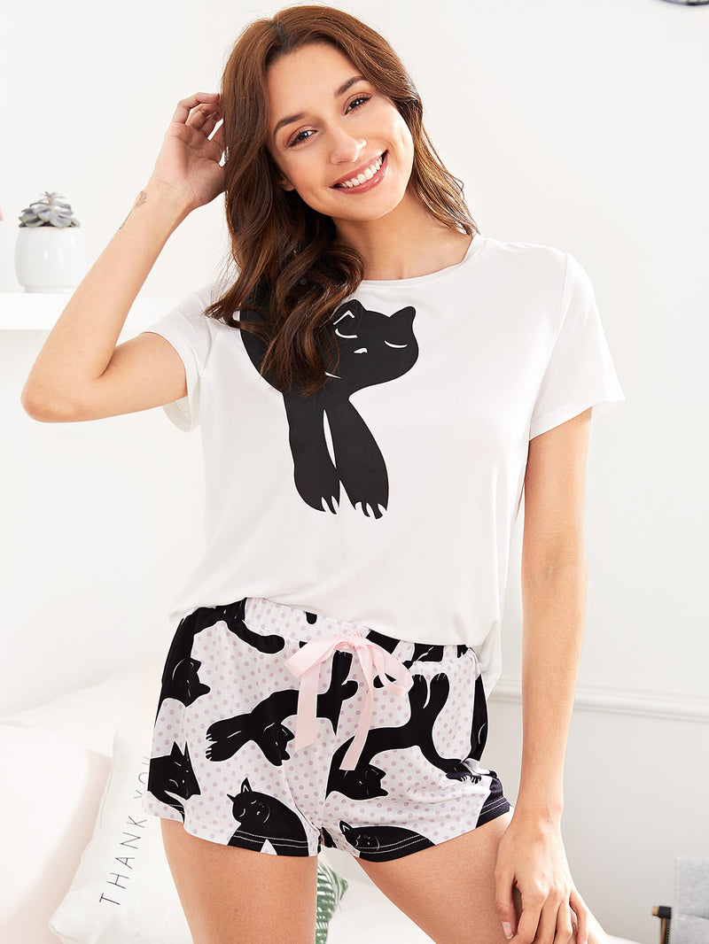 Cat Print Top And Knot Front Shorts PJ Set