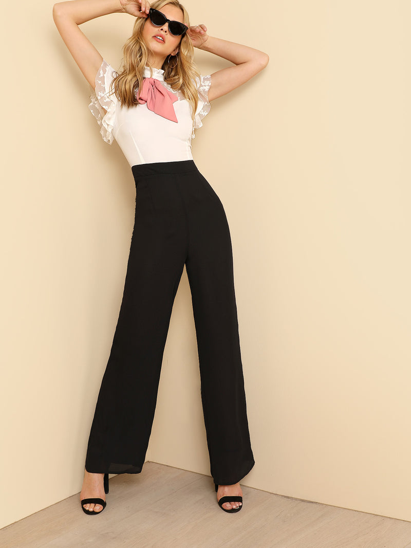 Bow Tie Neck Mesh Yoke Color Block Jumpsuit