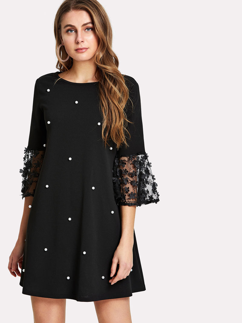 Applique Cuff Pearl Embellished Dress