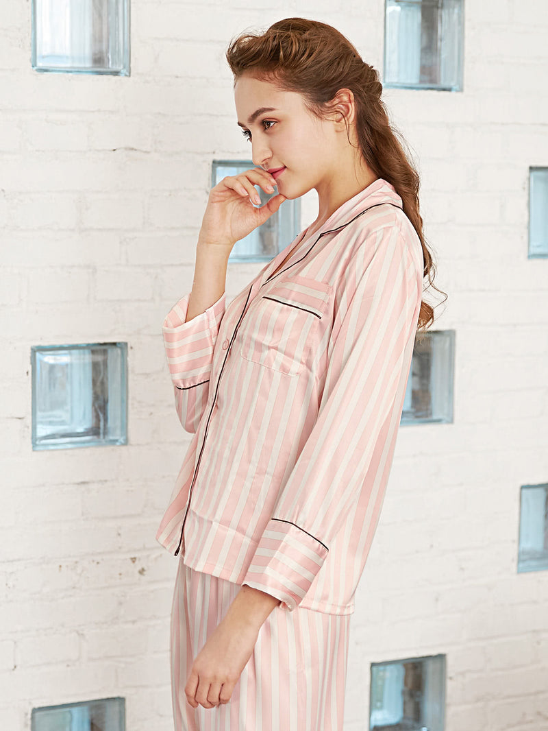 Block Stripe Contrast Binding Top & Pants PJ Set