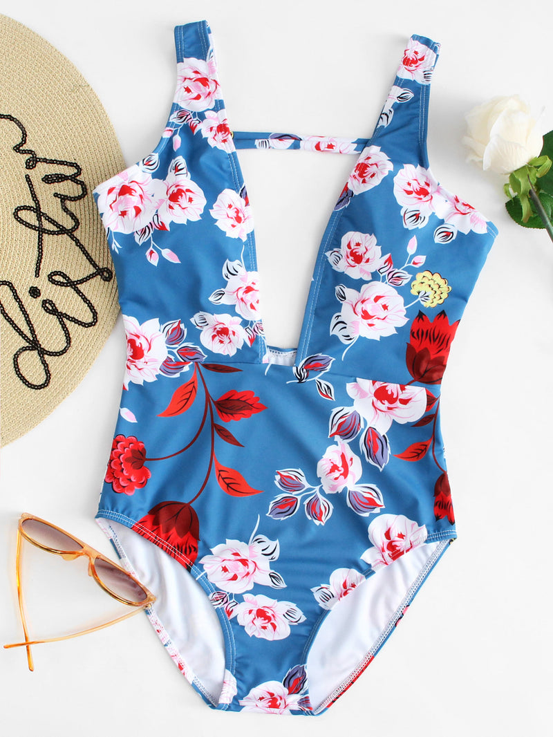 Flower Print Low Back Swimsuit