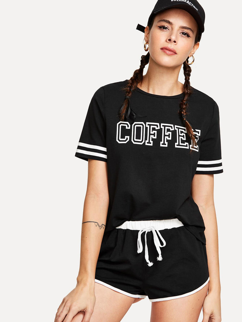 Contrast Tape Letter Print Top And Shorts Set