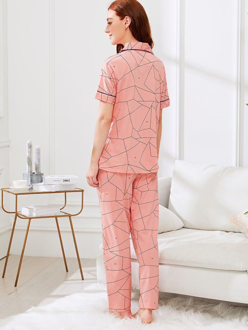 Contrast Binding Geo Print Shirt & Pants PJ Set
