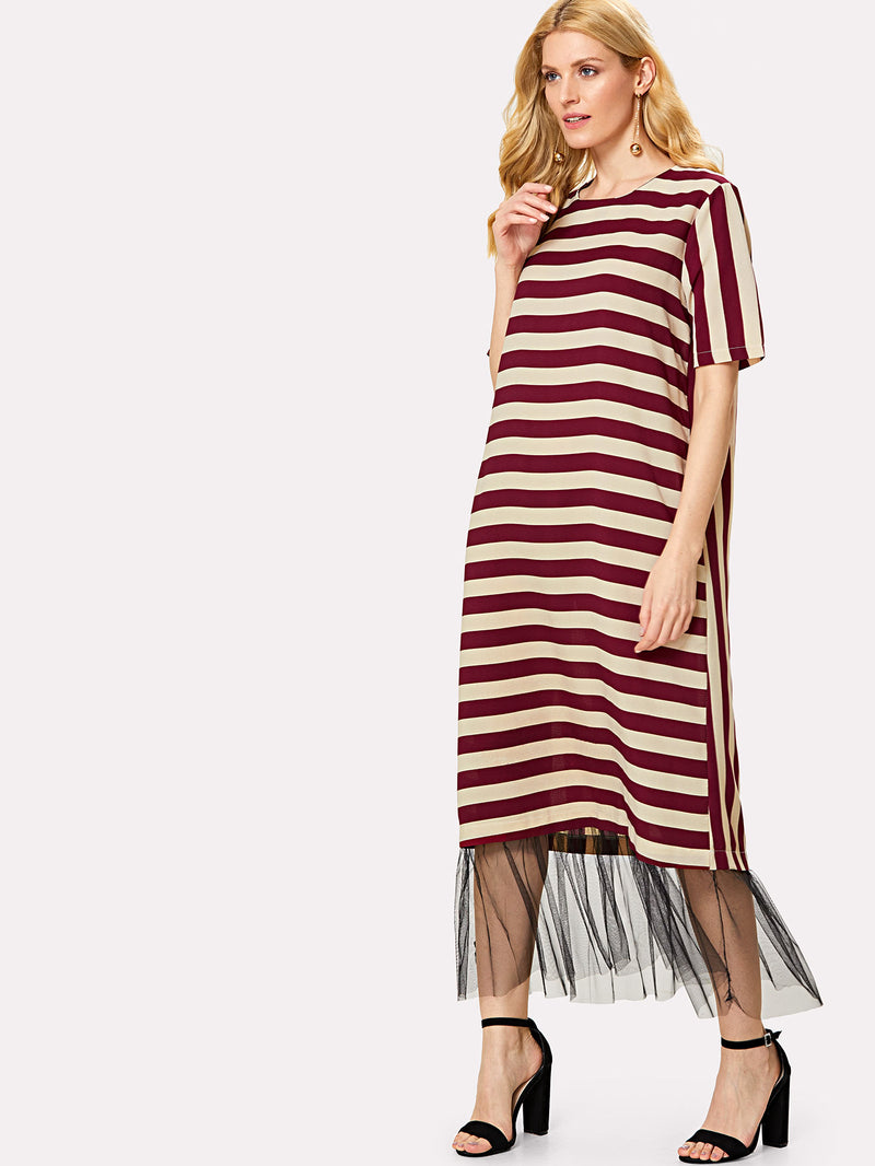 Contrast Stripe Mesh Hem Dress