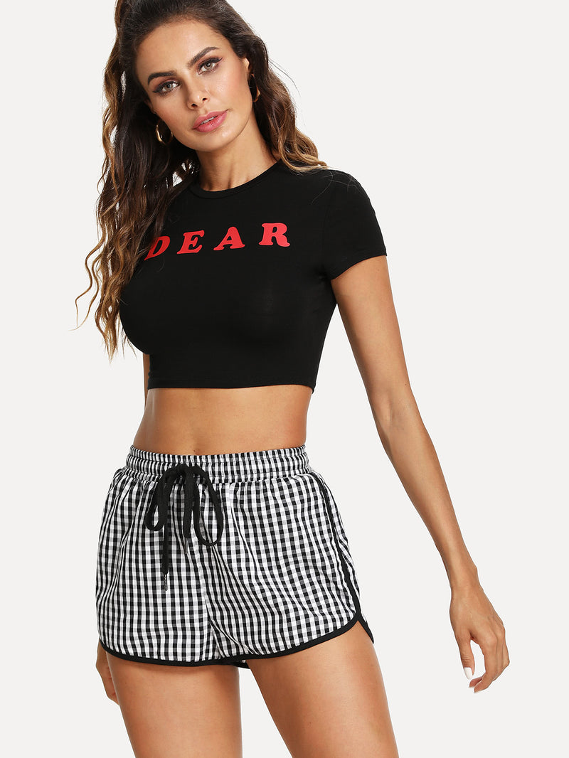 Drawstring Waist Gingham Binding Shorts