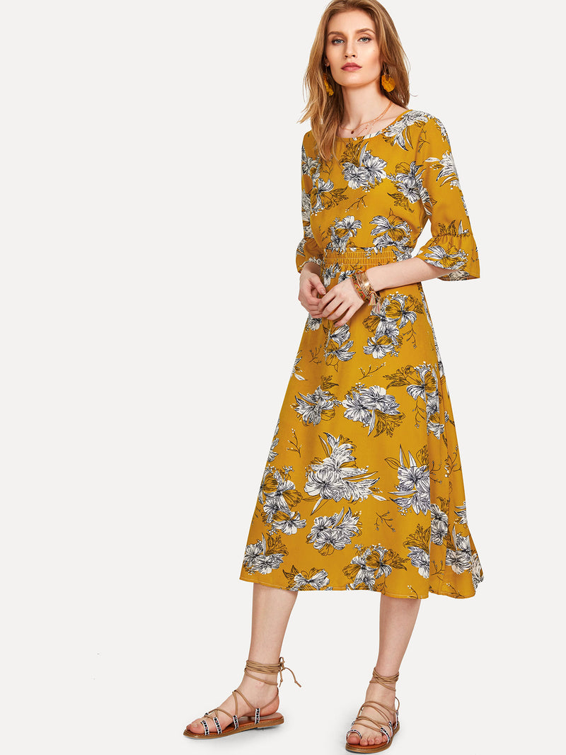 All Over Florals Flounce Sleeve Dress
